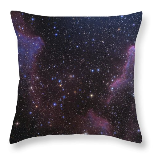 Ic 59 Throw Pillow featuring the photograph Ic 59 And Ic 63 Near Gamma Cas by Ken Crawford