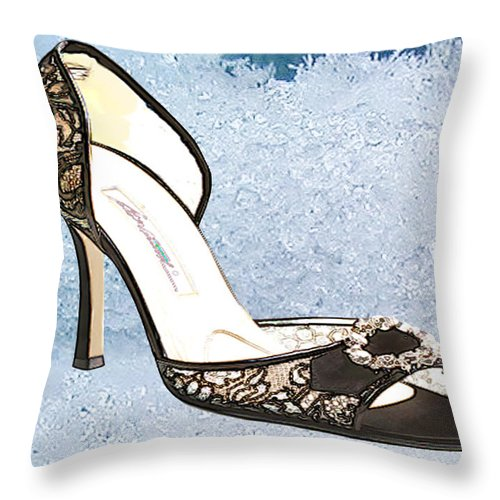 Shoes Heels Pumps Fashion Designer Feet Foot Shoe Throw Pillow featuring the painting Ice Princess Lace Pumps by Elaine Plesser