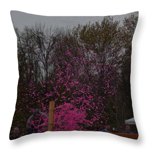 Tough Throw Pillow featuring the photograph Icee Pink Cold Water Challenge by Randy J Heath
