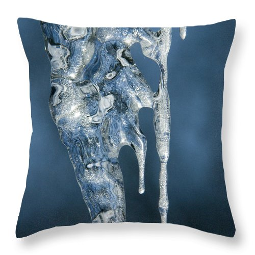 Bronstein Throw Pillow featuring the photograph Icicle Formation by Sandra Bronstein