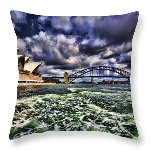 Sydney Harbor Bridge Throw Pillow featuring the photograph Iconic Landmarks by Douglas Barnard