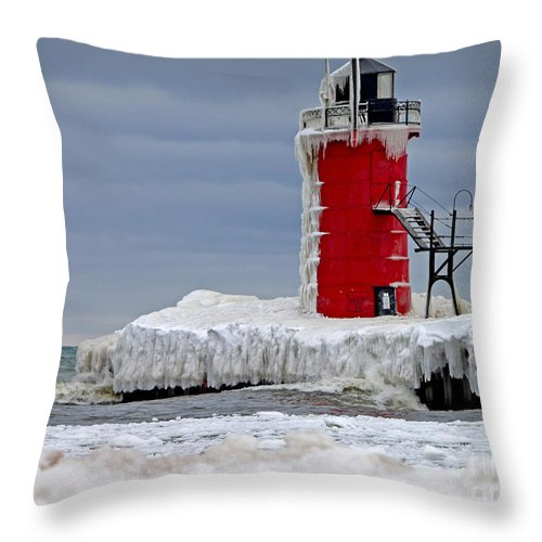 Lighthouse Throw Pillow featuring the photograph Icy South Haven Mi Lighthouse by Jack Schultz