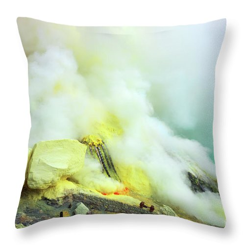 Volcano Throw Pillow featuring the photograph Ijen Crater by MotHaiBaPhoto Prints