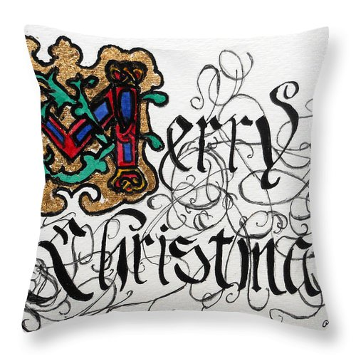 Merry Christmas Throw Pillow featuring the painting Illuminated Letter M by Arlene Wright-Correll