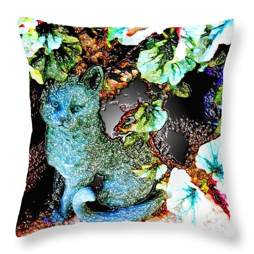 Digital Throw Pillow featuring the photograph Imaginary Cat by Nina Fosdick