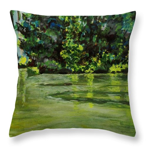 Abstract Throw Pillow featuring the painting Impressions Of Ooty Lake 1 by Usha Shantharam