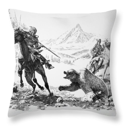 Indian Art Throw Pillow featuring the drawing Impressions Of The West by Virgil Stephens