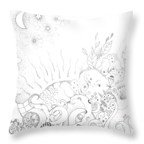 Earth Throw Pillow featuring the drawing In A World Of Wonder by Helena Tiainen