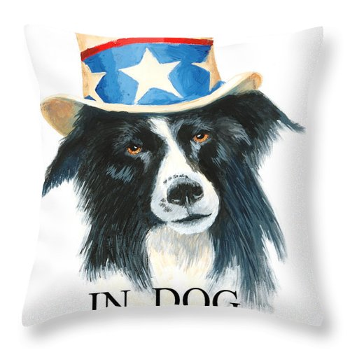 Dog Throw Pillow featuring the painting In Dog We Trust Greeting Card by Jerry McElroy