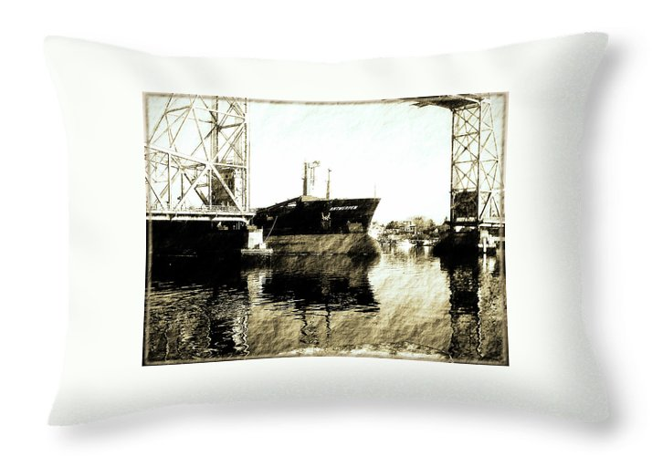 Ship Throw Pillow featuring the photograph In Portsmouth Harbor by Marie Jamieson