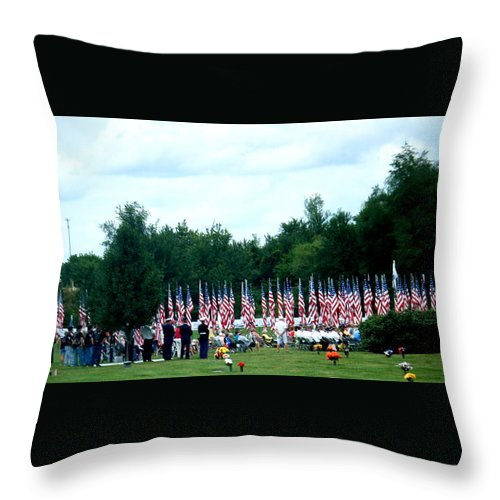 Landscapes Throw Pillow featuring the photograph In Remembrance Of 9-11 by April Patterson