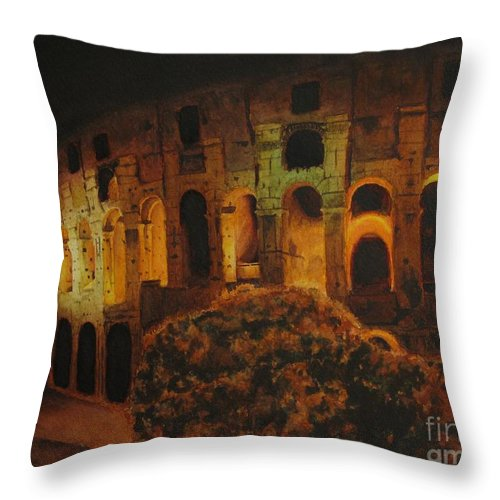 Rome Throw Pillow featuring the painting In Rome - In Love by Anna Starkova