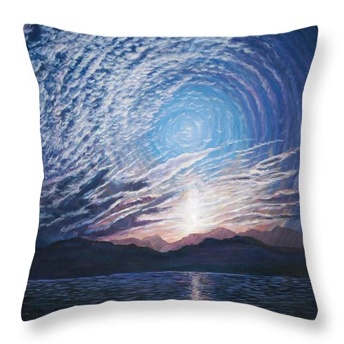 Sunrise Throw Pillow featuring the painting In The Beginning by LeRoy Jesfield