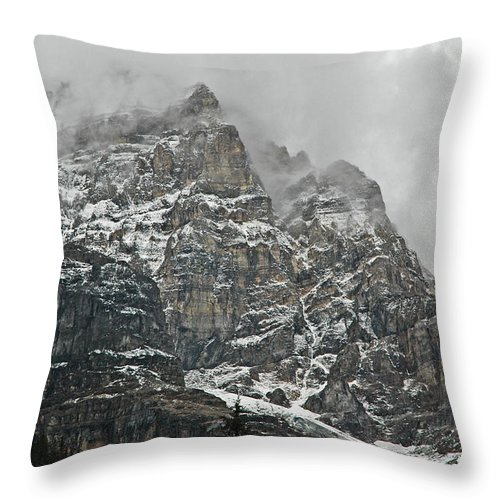 Mountain Throw Pillow featuring the photograph In The Clouds by Bob and Nancy Kendrick