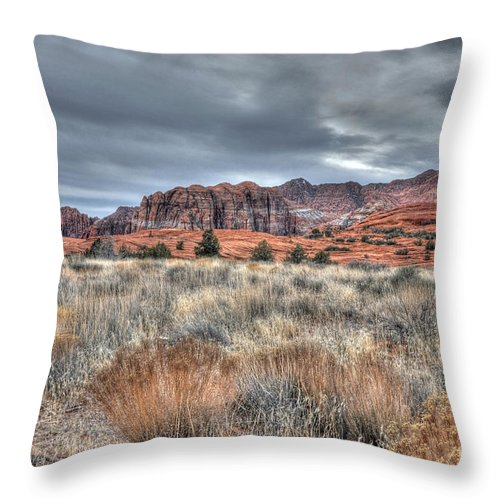 Snow Canyon Throw Pillow featuring the photograph In The Desert by Vivian Christopher