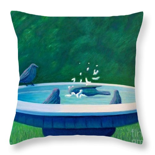 Birds Throw Pillow featuring the painting In The Garden by Brian Commerford