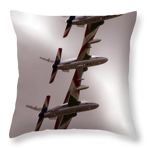 Airshow Throw Pillow featuring the photograph In The Row by Angel Ciesniarska