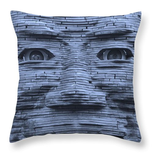 Architecture Throw Pillow featuring the photograph In Your Face In Cyan by Rob Hans
