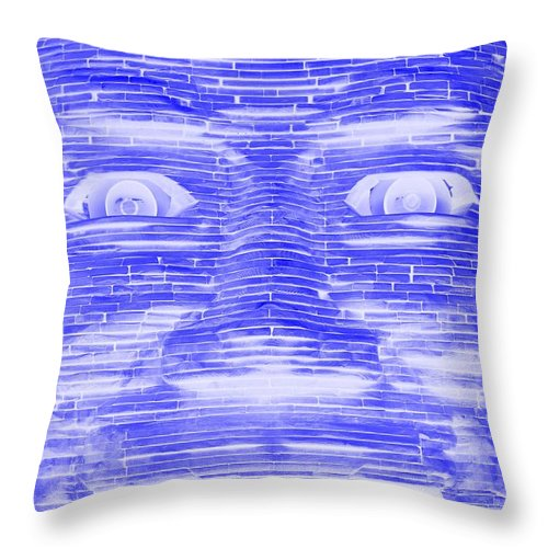 Architecture Throw Pillow featuring the photograph In Your Face In Negative Blue by Rob Hans