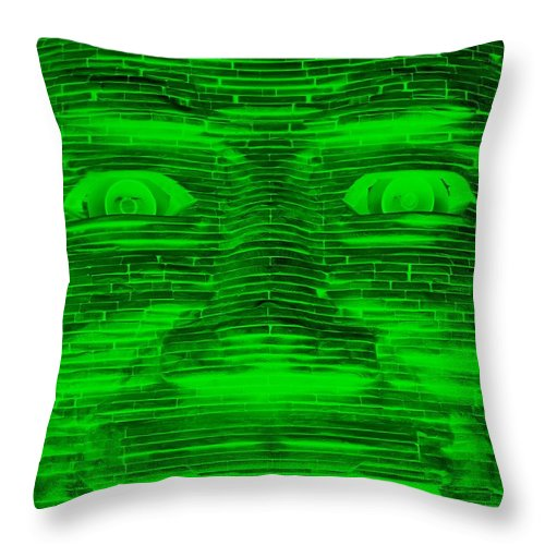 Architecture Throw Pillow featuring the photograph In Your Face In Negative Green by Rob Hans