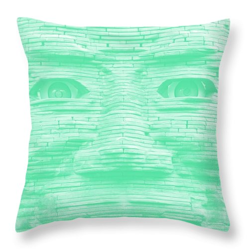Architecture Throw Pillow featuring the photograph In Your Face In Negative Light Green by Rob Hans