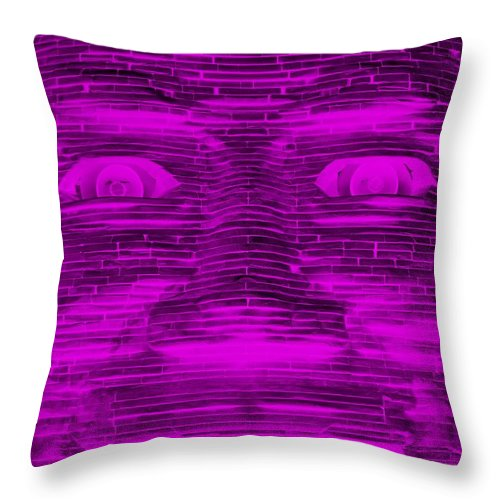 Architecture Throw Pillow featuring the photograph In Your Face In Negative Purple by Rob Hans
