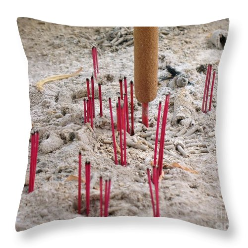 China Throw Pillow featuring the photograph Incense Sticks And Ashes by Yali Shi