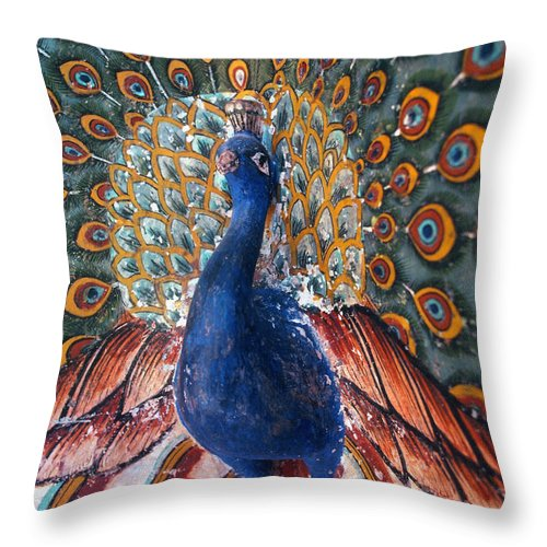 Asian Throw Pillow featuring the photograph India: Peacock by Granger