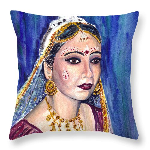 Indian Bride Throw Pillow featuring the painting Indian Bride by Clara Sue Beym