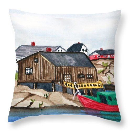 Indian Harbour Throw Pillow featuring the painting Indian Harbour Peggys Cove Nova Scotia by Arlene Wright-Correll