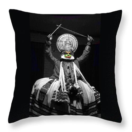 India Throw Pillow featuring the photograph Indian Kathakali Dance Of Kerela 2 by Sumit Mehndiratta