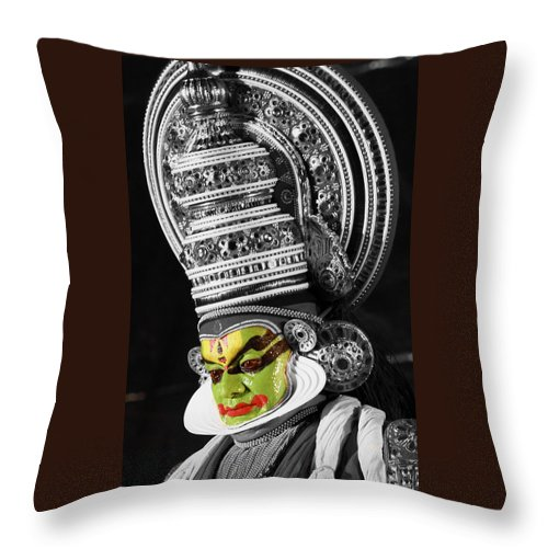 India Throw Pillow featuring the photograph Indian Kathakali Dance Of Kerela 3 by Sumit Mehndiratta