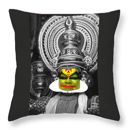 India Throw Pillow featuring the photograph indian kathakali dance of Kerela by Sumit Mehndiratta