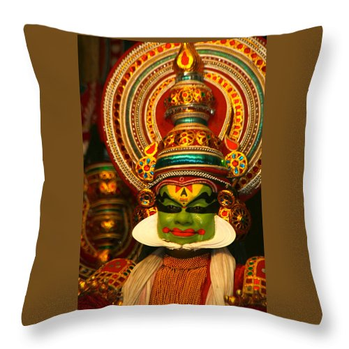 India Throw Pillow featuring the photograph Indian Kathkali Dance Of Kerela 4 by Sumit Mehndiratta
