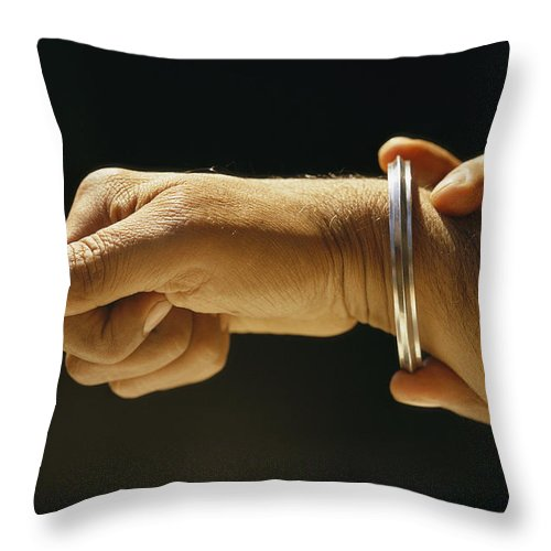 Jewelry Throw Pillow featuring the photograph Indias Sikhs Are Recognized By A Steel by James P. Blair