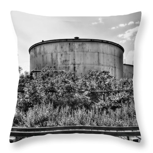 Railroad Throw Pillow featuring the photograph Industrial Tank In Black And White by Tammy Wetzel
