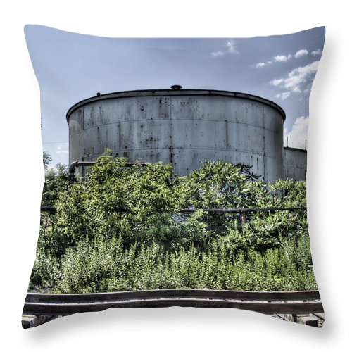 Railroad Throw Pillow featuring the photograph Industrial Tank by Tammy Wetzel