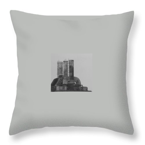Smoke Stacks Throw Pillow featuring the photograph Industry by Michele Nelson