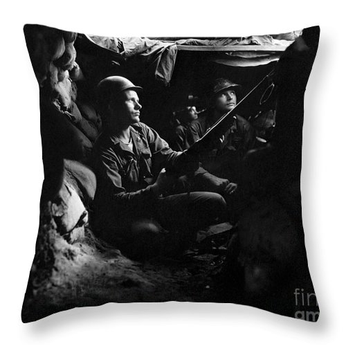 Horizontal Throw Pillow featuring the photograph Infantrymen Take Advantage Of Cover by Stocktrek Images