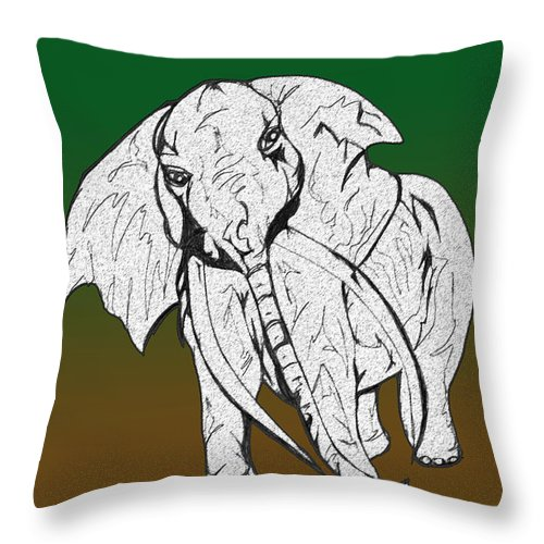 Abstract Throw Pillow featuring the drawing Inked Elephant In Green And Brown by Mary Mikawoz