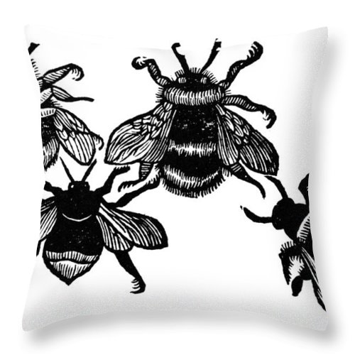 1658 Throw Pillow featuring the photograph Insects: Bees by Granger