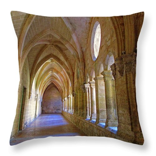 Monastery Throw Pillow featuring the photograph Inside A Monastery by Dave Mills