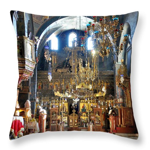 Mar Saba Throw Pillow featuring the photograph Inside The Church by Munir Alawi