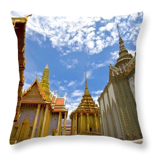 Architecture Throw Pillow featuring the photograph Inside The Grand Palace Bangkok by Charuhas Images