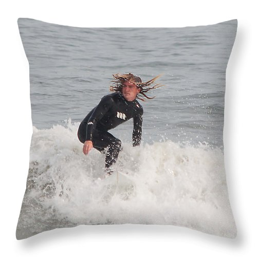 Surfer Throw Pillow featuring the photograph Intense Surfer by Kenneth Albin