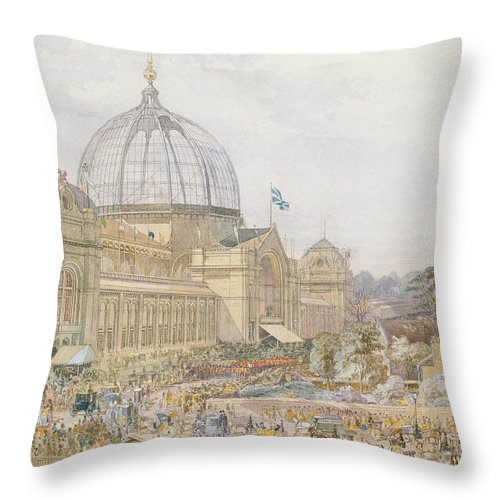 Building Throw Pillow featuring the painting International Exhibition by Edward Sheratt Cole