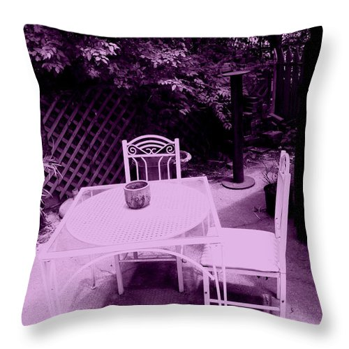 Chairs Throw Pillow featuring the photograph Intimate Space by Nina Fosdick