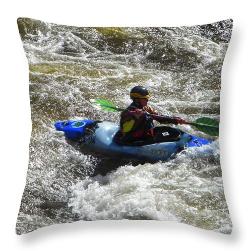 Kayak Throw Pillow featuring the photograph Into The Boil by Frank Wilson