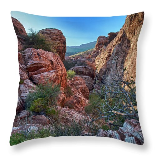 Red Rock Canyon Photographs Throw Pillow featuring the photograph Into The Canyon by Rick Berk