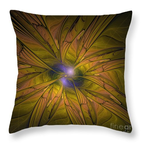 Abstarct Fractal Throw Pillow featuring the digital art Into The Dreamy Blue by Deborah Benoit